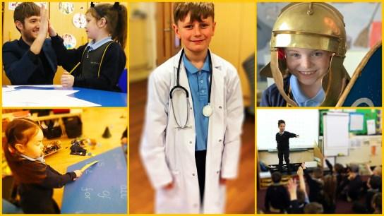montage of pupils in school